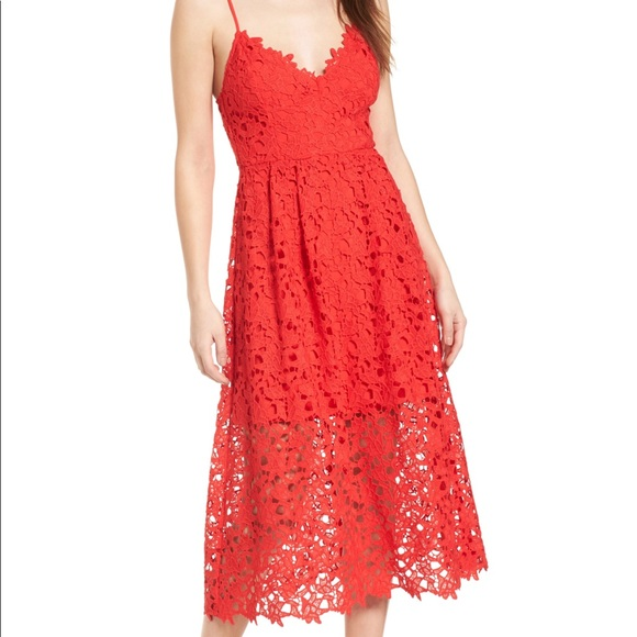 b93b2277bf981 ASTR the Label XS Lace Midi Dress in Red